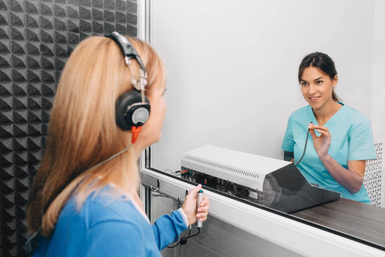 Photo of a hearing test in progress