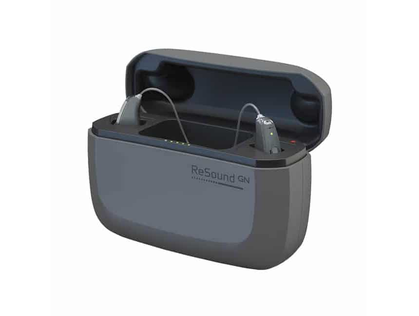 A set of ReSound LiNX Quattro in a charging case